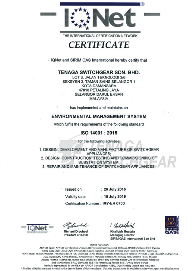 IQNet - ISO14001 : 2015