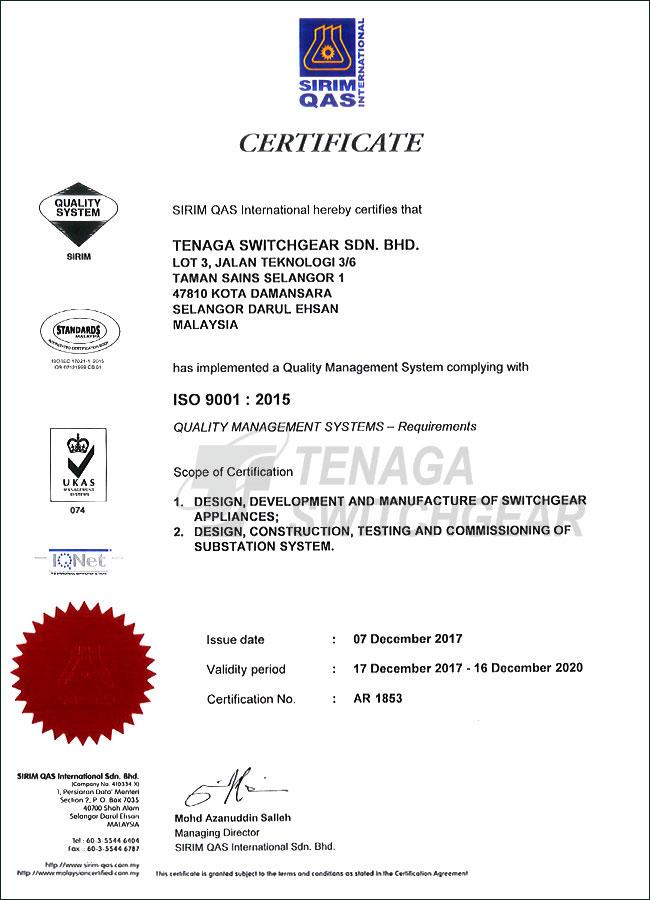 SIRIM QAS - ISO 9001 : 2015